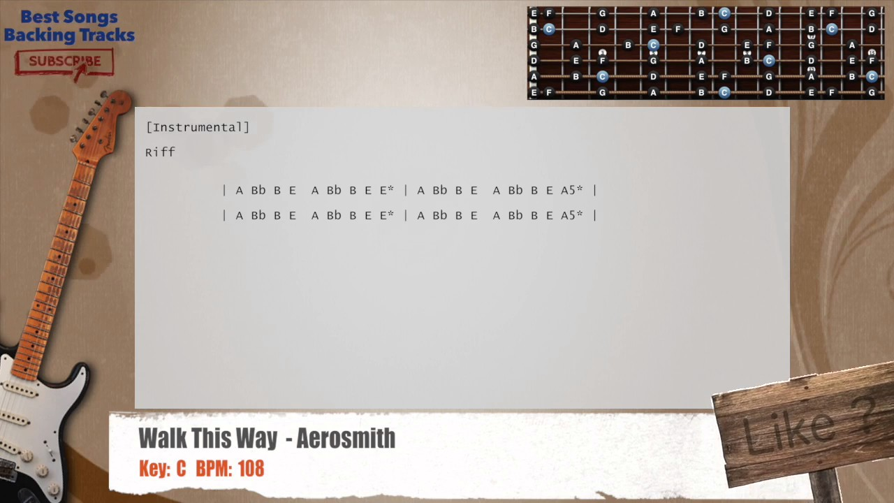 Walk This Way Aerosmith Guitar Backing Track With Chords And