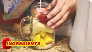 Sultry Strawberry Mango Tango Smoothie featuring Tribest Mason Jar Personal Blender