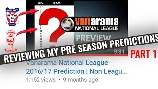 Part 1 - Reviewing My Awful Pre Season Predictions - Vanarama National League