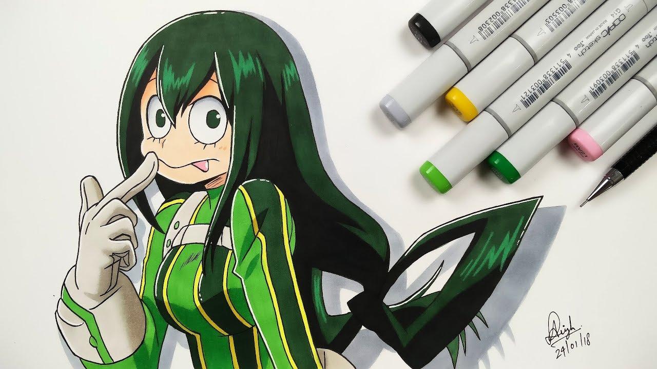 Boku No Hero Academia Tsu drawing froppy (tsuyu asui) - boku no hero academia
