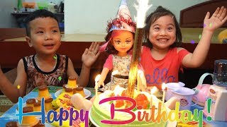 Kids Pretend play Happy Birthday to Baby Doll at home with Anto and Diana - Family Fun Kids
