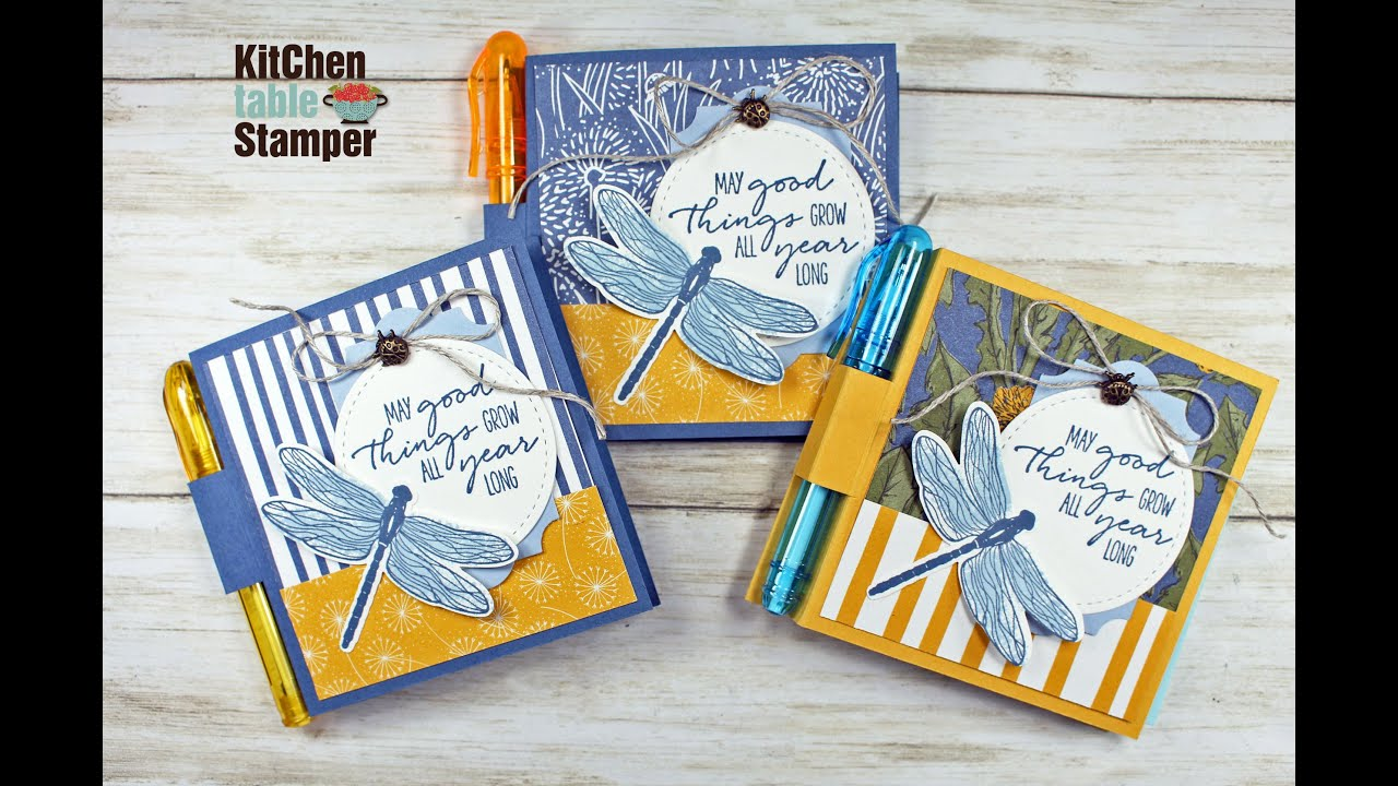 Stampin Up Dragonfly Garden Sticky Note Holder Tutorial With Kitchen Table Stamper Youtube