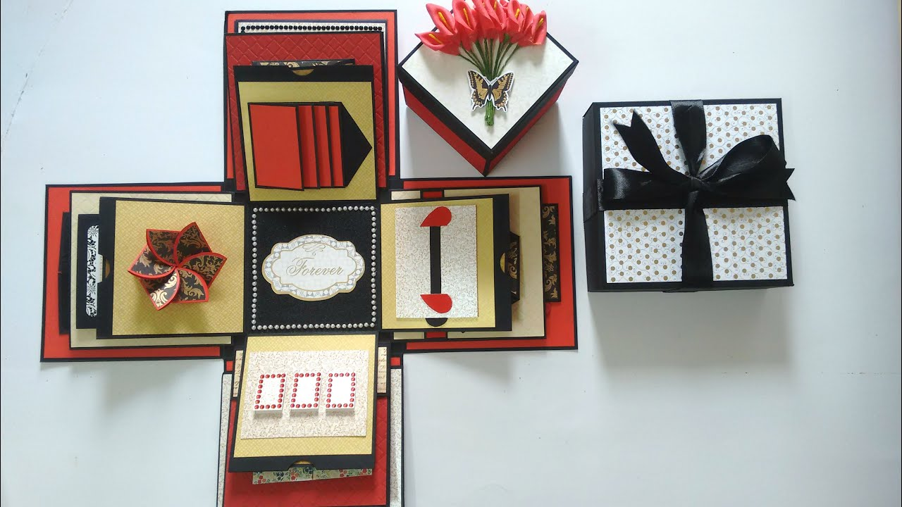 Anniversary Valentine special explosion box tutorial – Diy Wedding Card Box Instructions