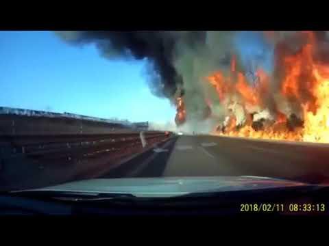 Tanker Truck Crashed, Leaks Fuel, Causes Huge Explosion