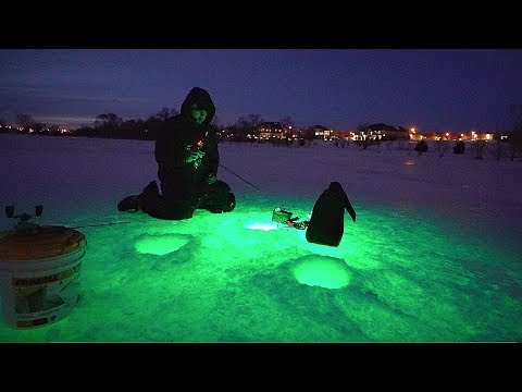INSANE Night Ice Fishing W/ GLOW LIGHTS!!