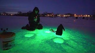 INSANE Night Ice Fishing w/ GLOW LIGHTS!!
