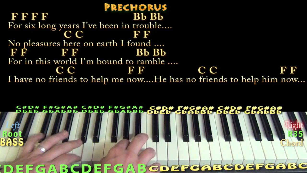 Man of Constant Sorrow - Piano Chord Chart in F with On-Screen ...
