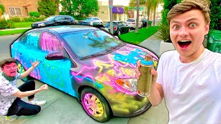 I DESTROYED RYANS CAR!! (HE WAS SO MAD)