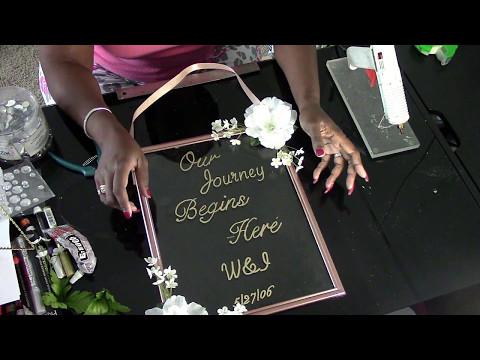 DIY: Dollar Tree Glass Personalized Floating Entrance Sign DIY Wedding Series Wk4