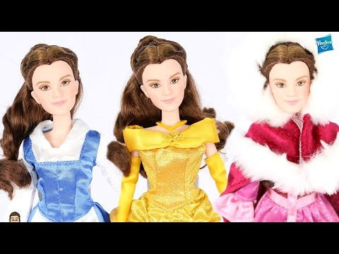 DRESSING BELLE! | Beauty & The Beast Live Action Belle SINGING Hasbro Doll In DISNEY STORE DRESSES!