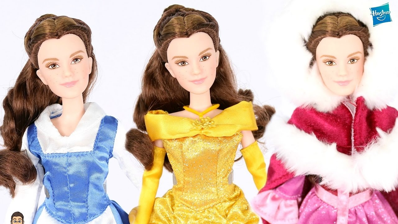 Beauty The Beast Live Action Belle SINGING Hasbro Doll In DISNEY STORE DRESSES