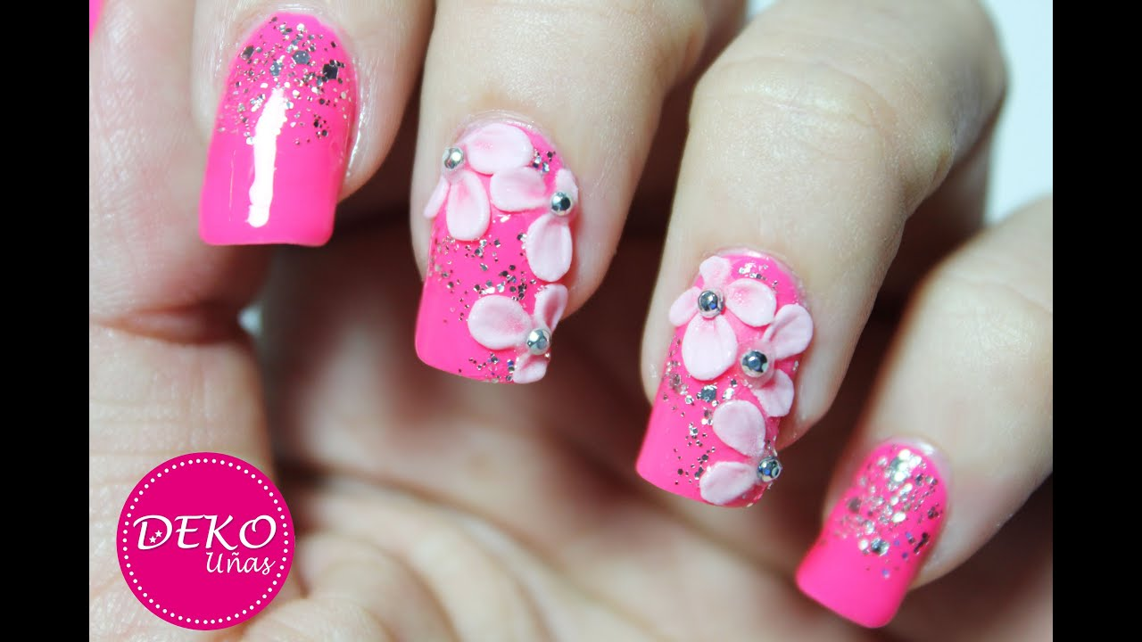 Decoracion de u as flores 3d 3d nail art flowers youtube - Decoracion de unas ...
