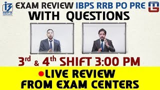 Exam Review With Cut Off | IBPS RRB PO PRE 2017 Shift - 3 & 4 Live From Exam Center 2017 Video