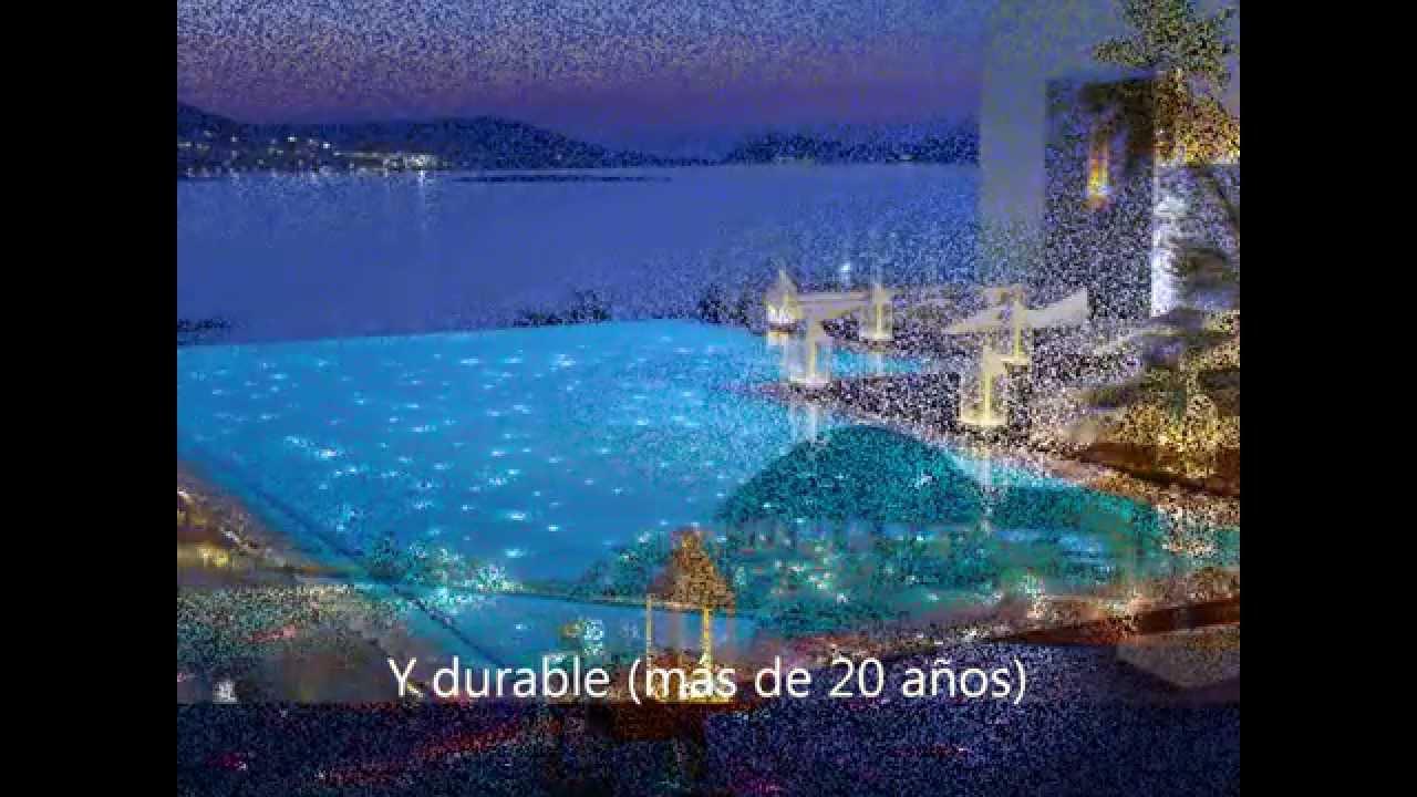 Iluminaci n de piscinas o albercas con sistema de fibra for Iluminacion de piscinas