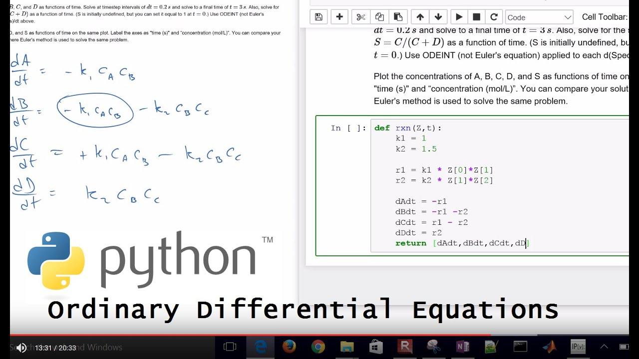 Chemical Reaction Differential Equations in Python