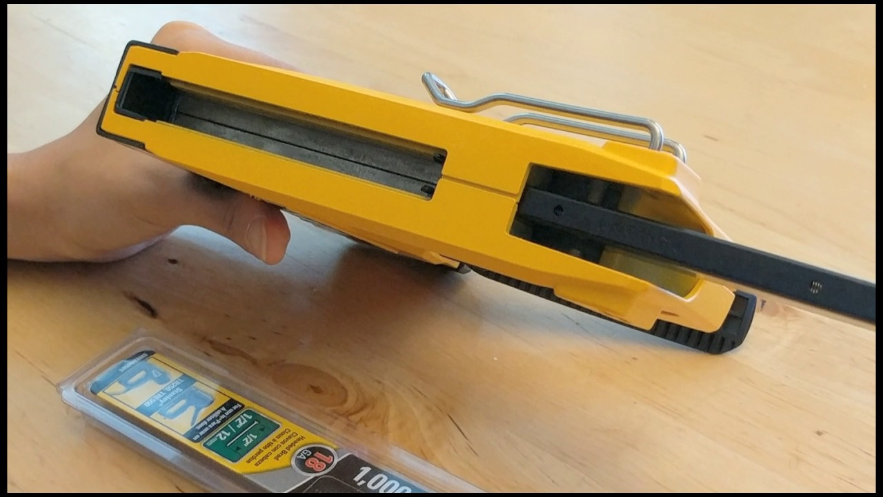 how to load brads in a dewalt dwhttr350 heavyduty staple gun stapler brad nailer