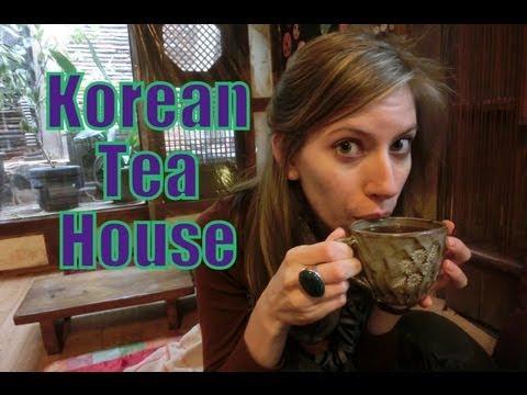 Traditional Korean Tea House 찻집 drinking Ginger 생강차 & Plum 매실차 tea 차 in Insadong