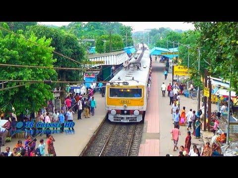 Sealdah To Gede Local Train Of India Railways Entering Kanchrapara Railway Station