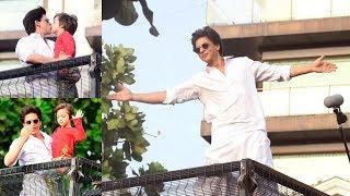 Shahrukh Khan & Abram Wishes Eid Mubarak To Fans Outside Mannat