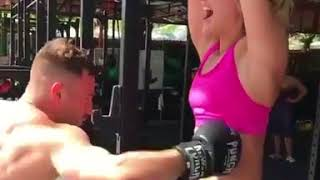 Hard workout : Pretty girl getting here belly punched