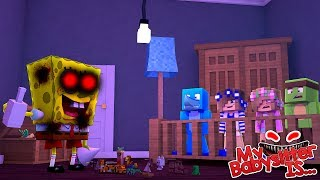 MY BABYSITTER IS..... SPONGEBOB .EXE !! Minecraft w/ Little Kelly Little Carly and Sharky