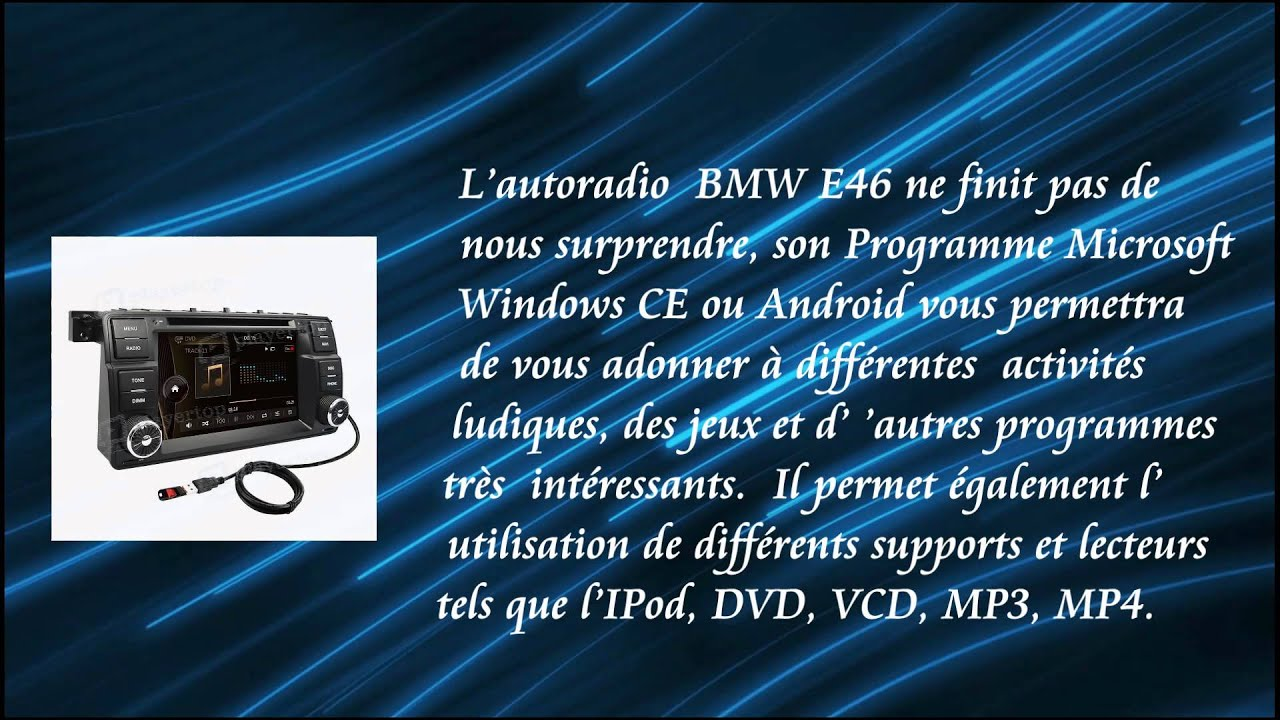 autoradio bmw e46 gps android avec fonction bluetooth. Black Bedroom Furniture Sets. Home Design Ideas