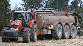 Massey Ferguson 8690 Working Hard in The Field w/ AP-GV 35 Manure Barrel | Danish Agriculture