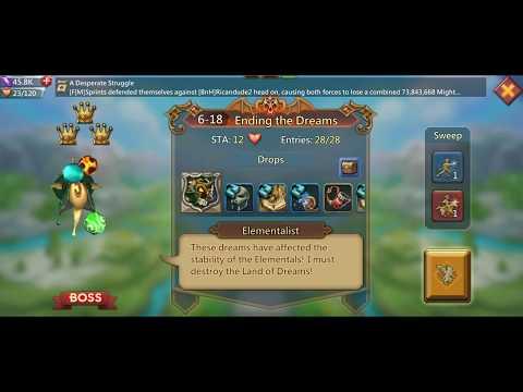 Lords Mobile - F2P Elite Hero Stage 6-18 Walkthrough (Elementalist)