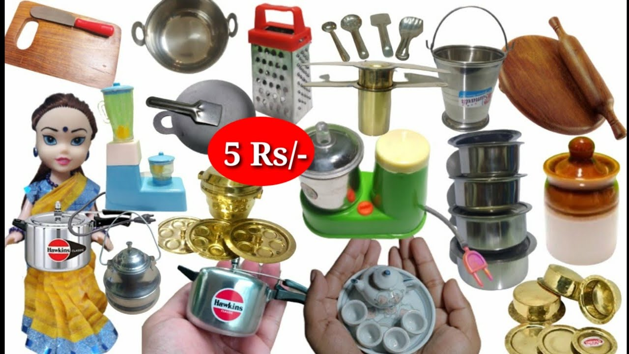 Miniature Kitchen Set Real Cooking Steel And Brass Unboxing Mini Kitchen Toy Set For Kids Wooden Youtube