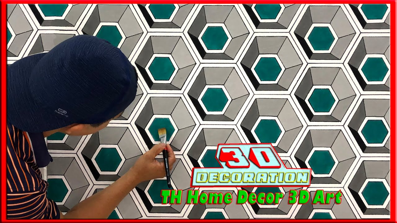 🔴How to make 3D wall design || 3D wall painting || 3d wall decoration effect || TH Home Decor 3D Art