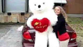 giant stuffed white long fur valentine s day teddy bear is 6 feet tall with