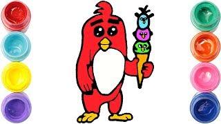 Como dibujar el PÁJARO rojo de ANGRY BIRDS | Dibujos faciles | Videos de dibujar | Dibujo kawaii