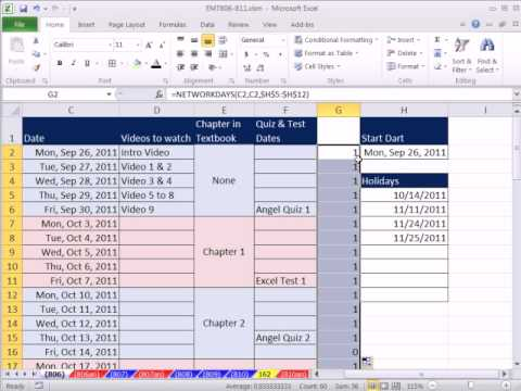 Excel Magic Trick 806: Schedule with Holidays Conditional Formatting & Custom Number Formatting