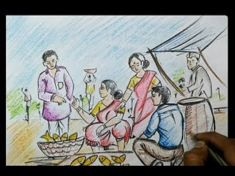 How To Draw Village Fish Market Drawing By Pastel Colour For Kids Very Easy