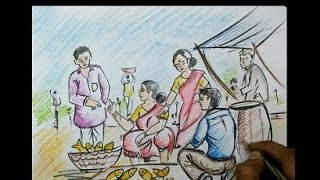 village fish market drawing by pastel colour||for kids||very easy