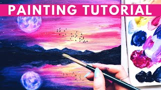 How to Paint Sunset Acrylic FULL TUTORIAL