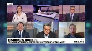Baixar DEBATE Macron's Europe: French president likens EU divisions to