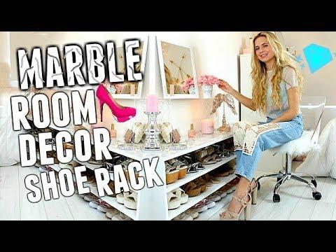 DIY MARBLE ROOM DECOR | How to Make a SHOE RACK DIY!! ROOM DECOR DIY