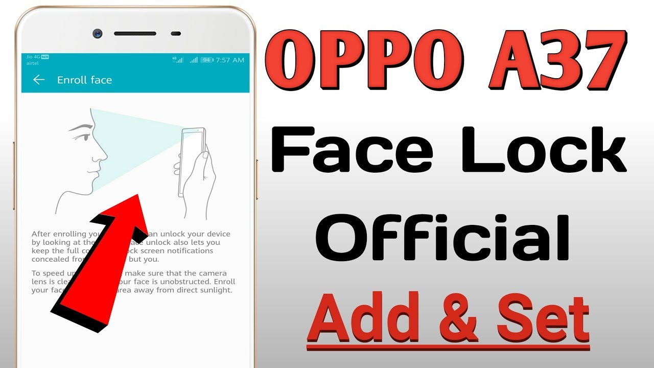 OPPO A37 Face Lock Official Add & Set / New