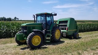 Baling Second Crop Hay In South West Wisconsin