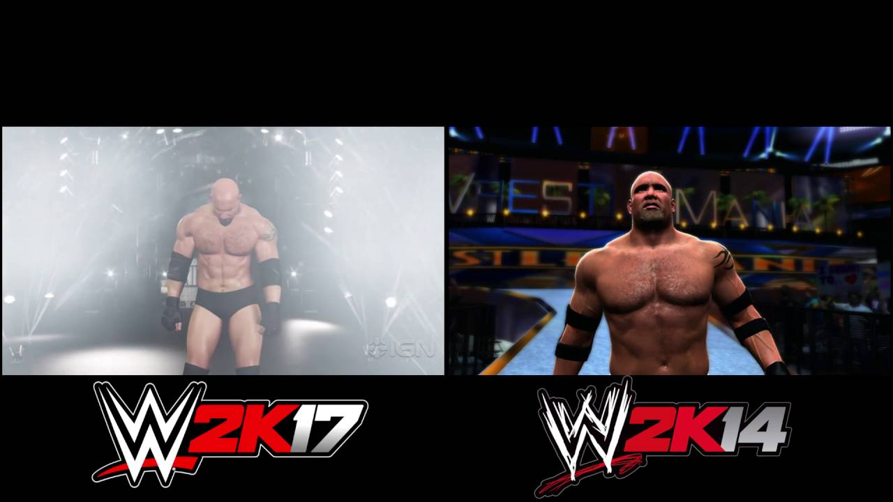wwe 2k17 ps4xboxone vs wwe 2k14 goldberg entrance