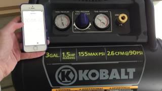 Kobalt 3 Gallon 1.5 HP Air Compressor Refill Speed Test