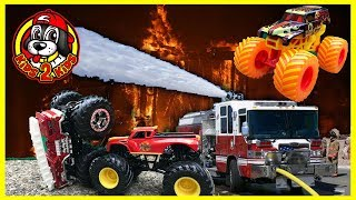 Monster Jam Fire Trucks RADICAL RESCUE, BACKDRAFT & 5 ALARM Fourth of July Fireworks Special