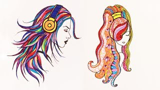 Уроки рисования. Как нарисовать разноцветные волосы / ДУДЛИНГ/ | Art School