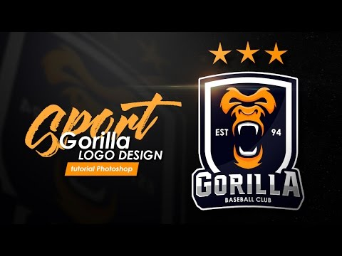 "How to design a sports logo ""GORILLA Logo"" Tutorial photoshop bahasa indonesia"