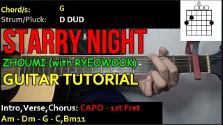 ZHOUMI - STARRY NIGHT(with RYEOWOOK) | Guitar Tutorial | CHORDS and STRUMMING PATTERNS)