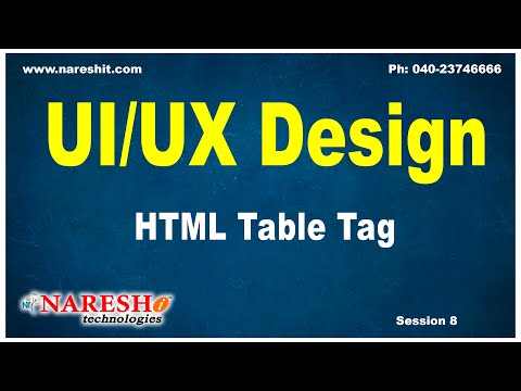 Session- 8 | HTML Table Tag | UI/UX Tutorials | UI Technologies