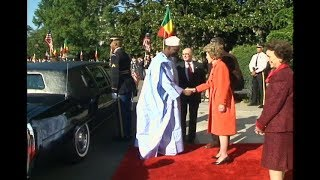 Cuts of Arrival Ceremony for President Traore of Mali on October 6, 1988