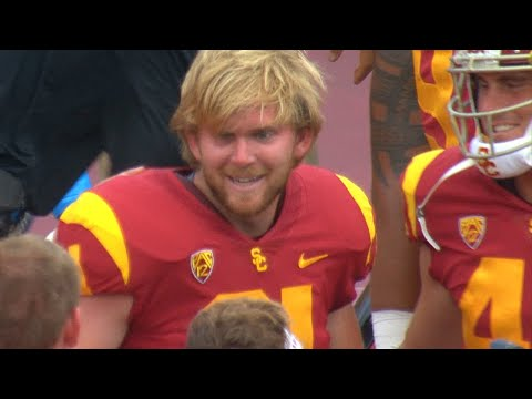 Highlight: USC's Blind Long Snapper Jake Olson Finds Game Action On Extra Point Against WMU