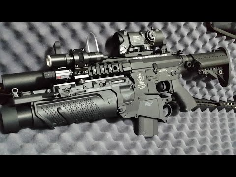 G&P M7A1B WITH ELCAN SPECTER DR SCOPE & FN HERSTAL CYBERGUN FN40GL LAUNCHER